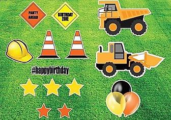 construction trucks yard card sign