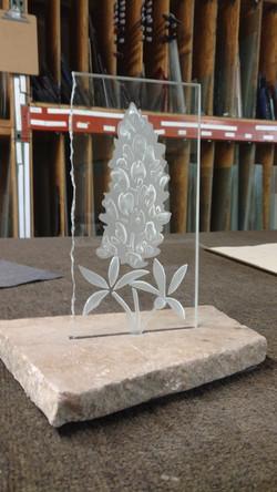 Sandblasted glass bluebonnet