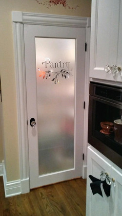 Sandblasted glass  door for pantry