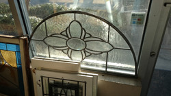 Leaded glass arched transom