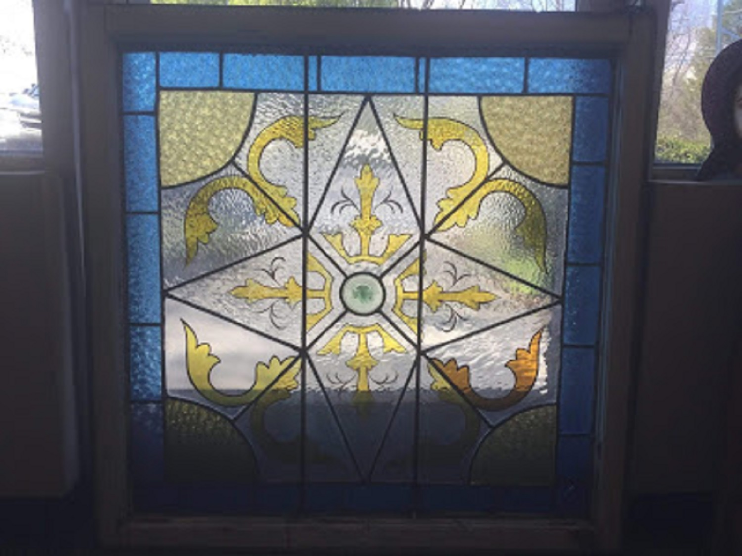 Painted stained glass - antique