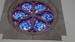 Stained glass church rose window