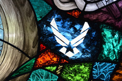 Motor cycle stained glass - detail