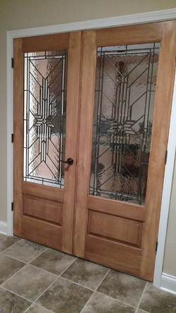 Leaded glass entry doors