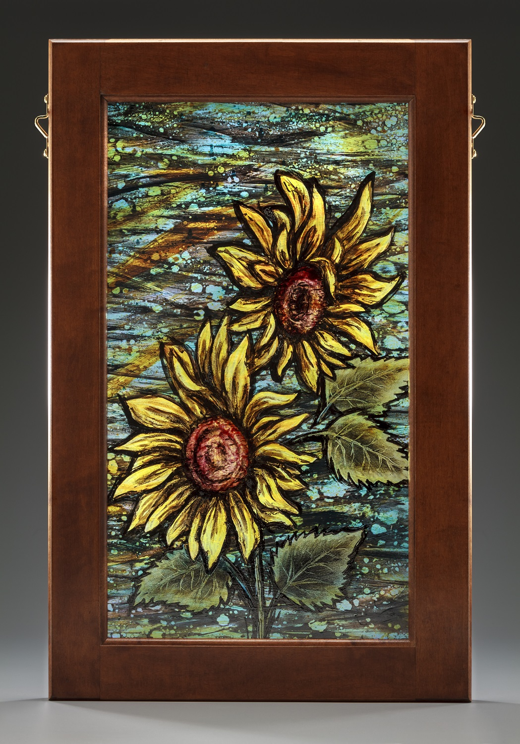Painted glass sunflowers