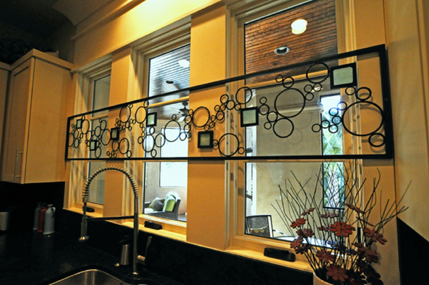 Custom iron work with glass