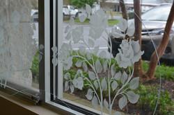 Sandblasted glass rose