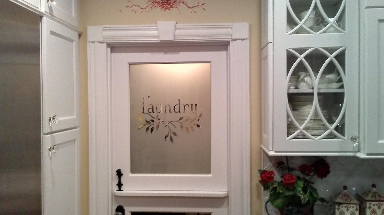 Sandblasted glass laundry room door