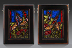 Painted stained glass floral