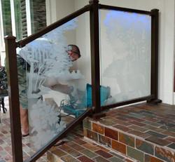 Sandblasted tempered glass handrail