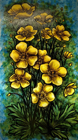 Painted glass buttercups