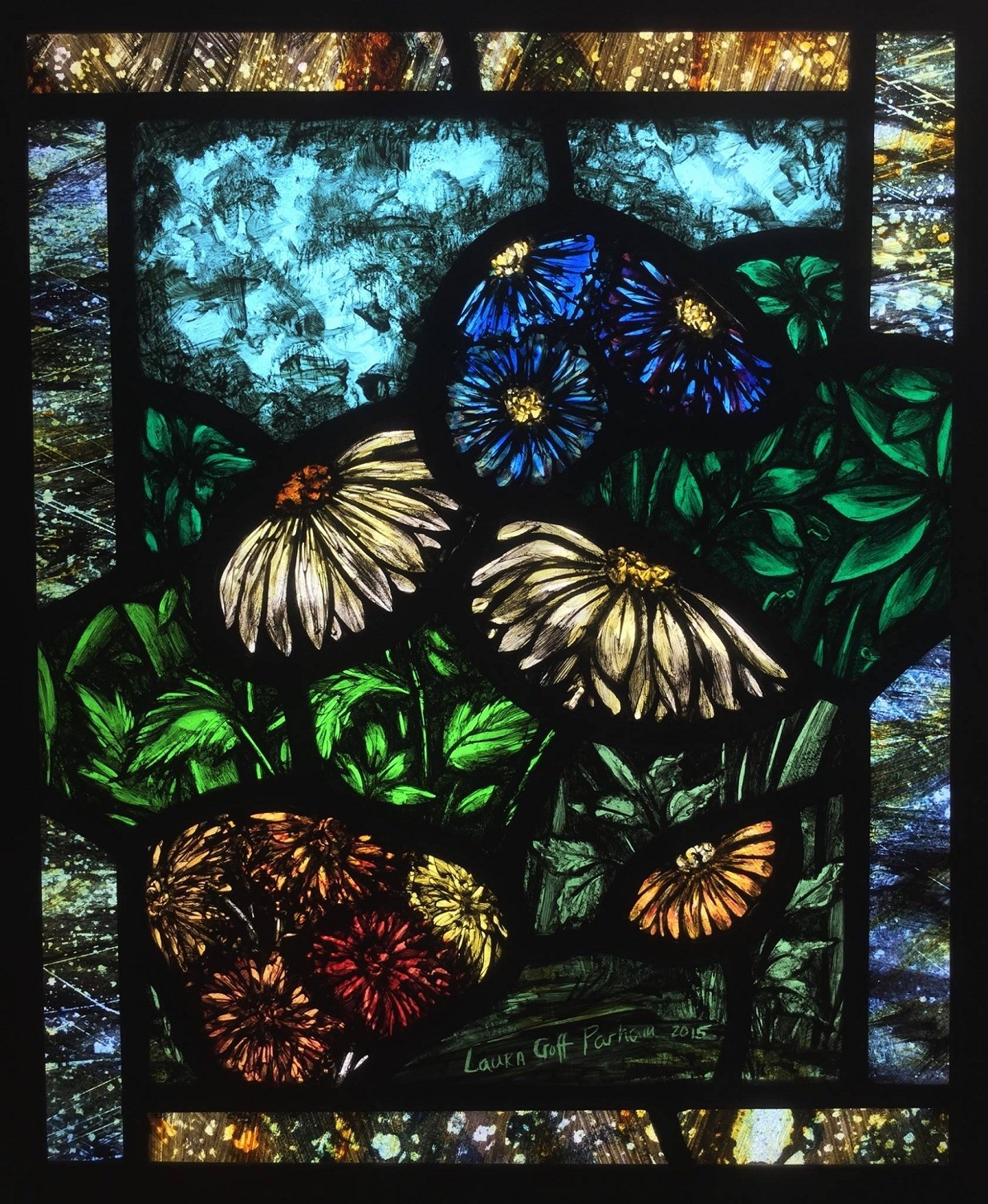 Painted stained glass flowers