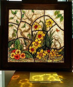 Painted glass daffodils
