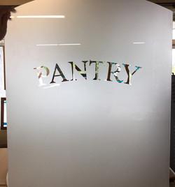 Sandblasted glass pantry door