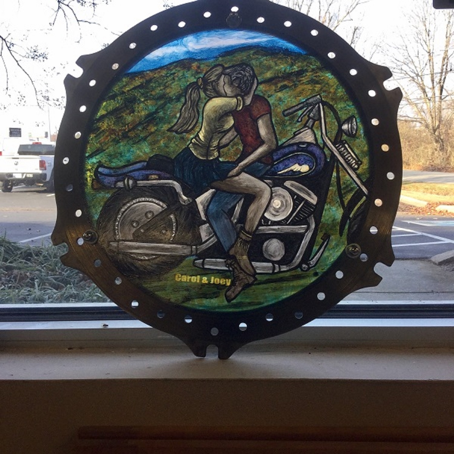 Painted glass in motorcycle gear