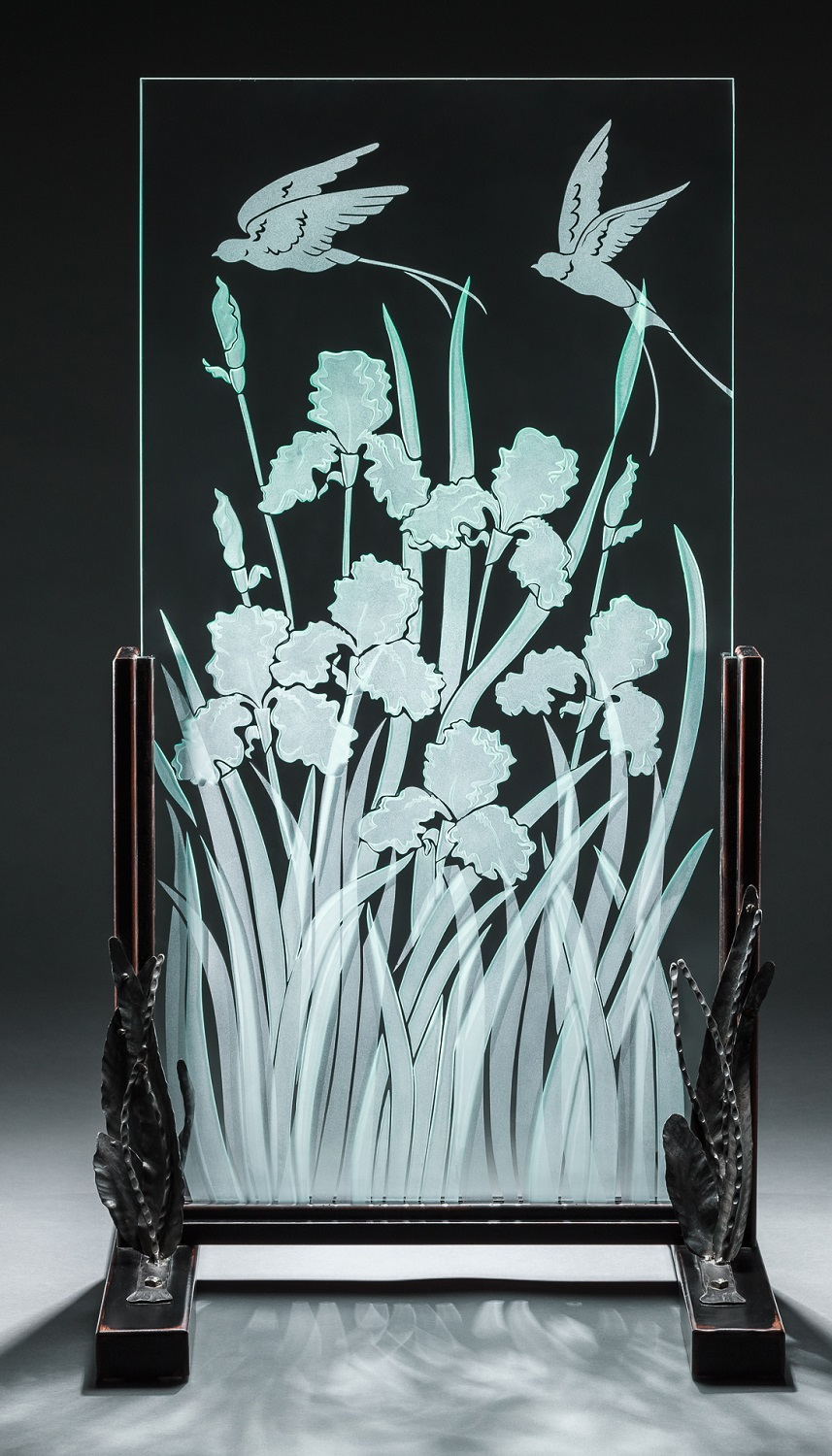 Sand blasted glass iris