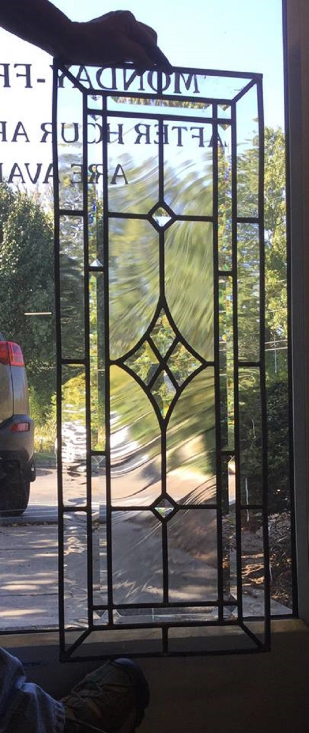 Leaded glass cabinet door