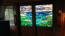 Stained glass entry door for yacht