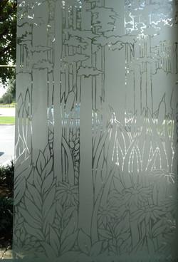 Sandblasted glass master bath window