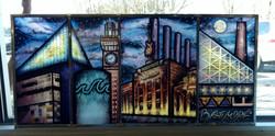 Painted glass Baltimore skyline