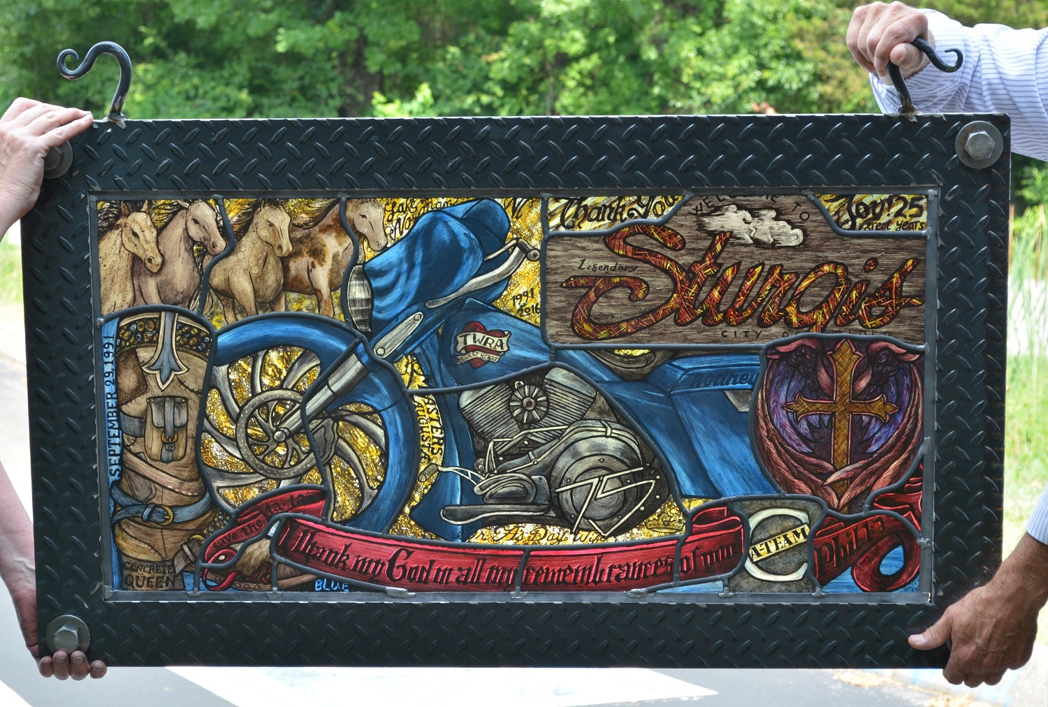 Motorcycle stained glass