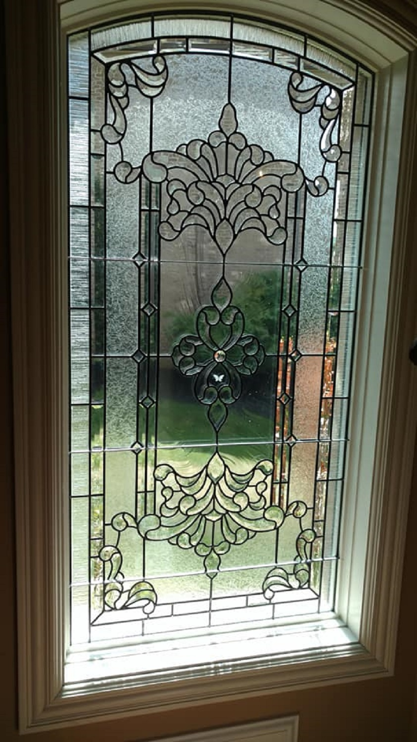 Leaded glass stairwell window