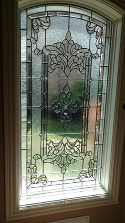Leaded glass stairwell window