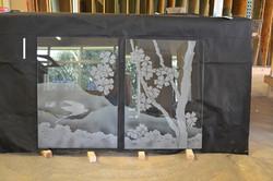 Sandblasted glass shower windows