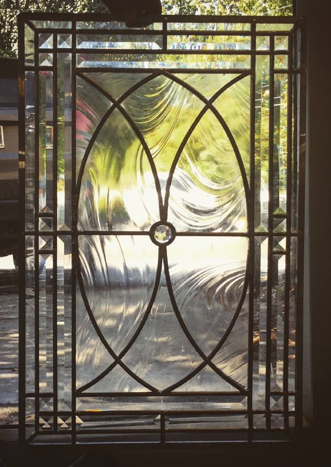 Leaded, beveled glass cabinet door
