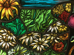 Painted stained glass daisies