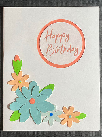 Happy Birthday Flowers (Blue & Orange)