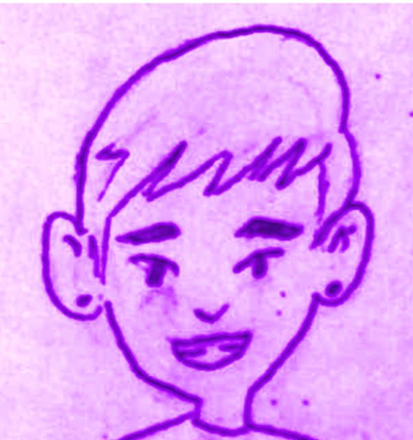 retrato de Takashi desenhado a mão com caneta
