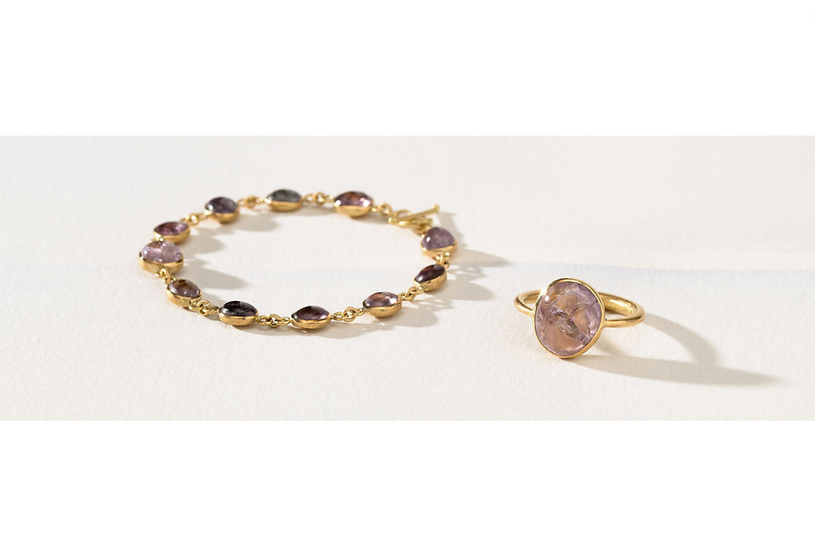 Recycliertes Oekogold, Armband und Ring mit Spinell