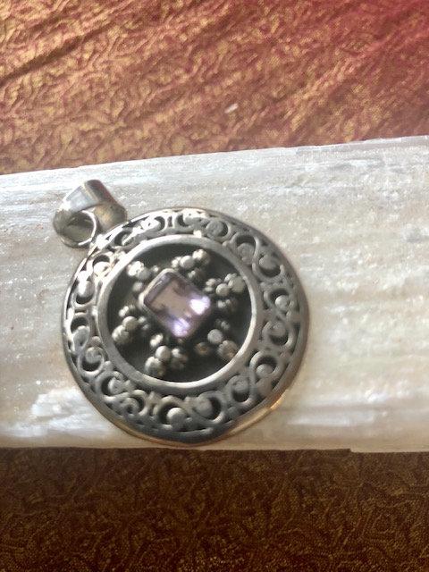 Lavender Amethyst Sterling Pendant