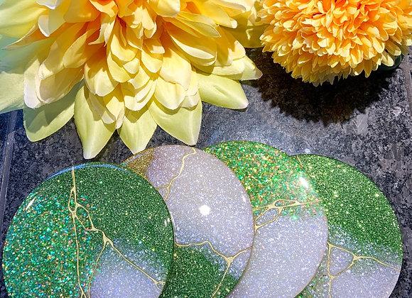 Green Glitter Coasters