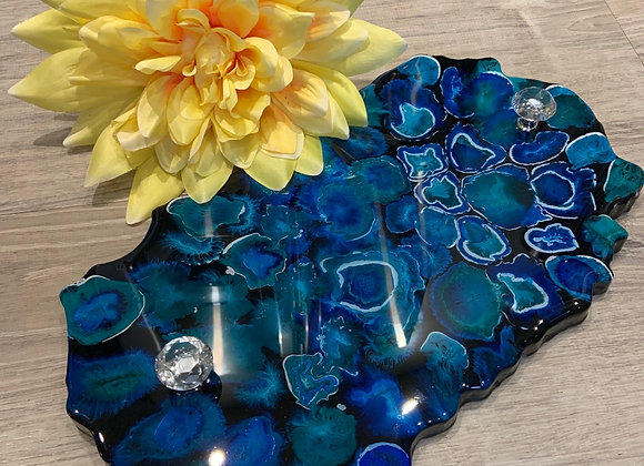 Blue and Black Solid Resin Tray with Handles