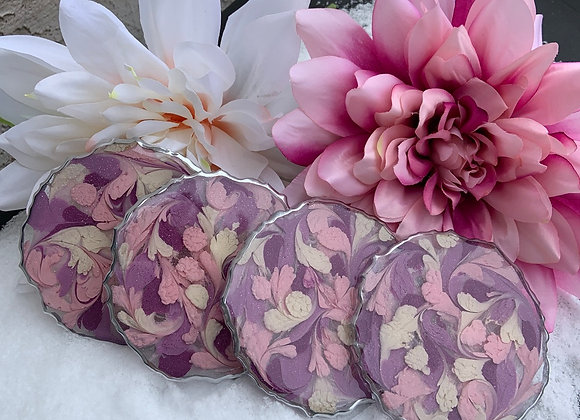 Pink, Mauve and Beige Feather Coaster Set