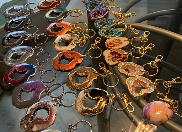 Small Geode Keychains (top row)