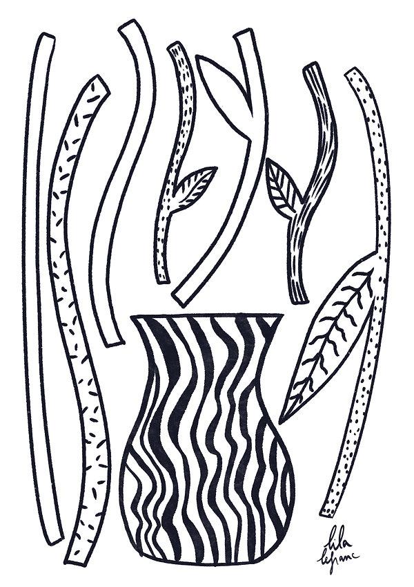 Coloriage vase et tiges-Lila Lefranc .jp