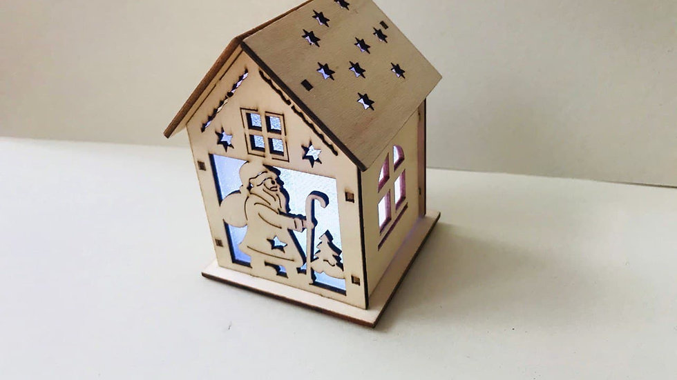 Christmas Wooden House with Candle Light