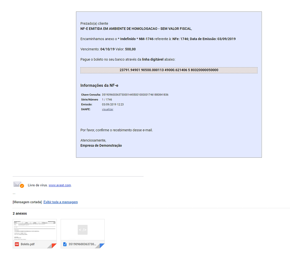 Exemplo de e-mail enviado pelo sistema