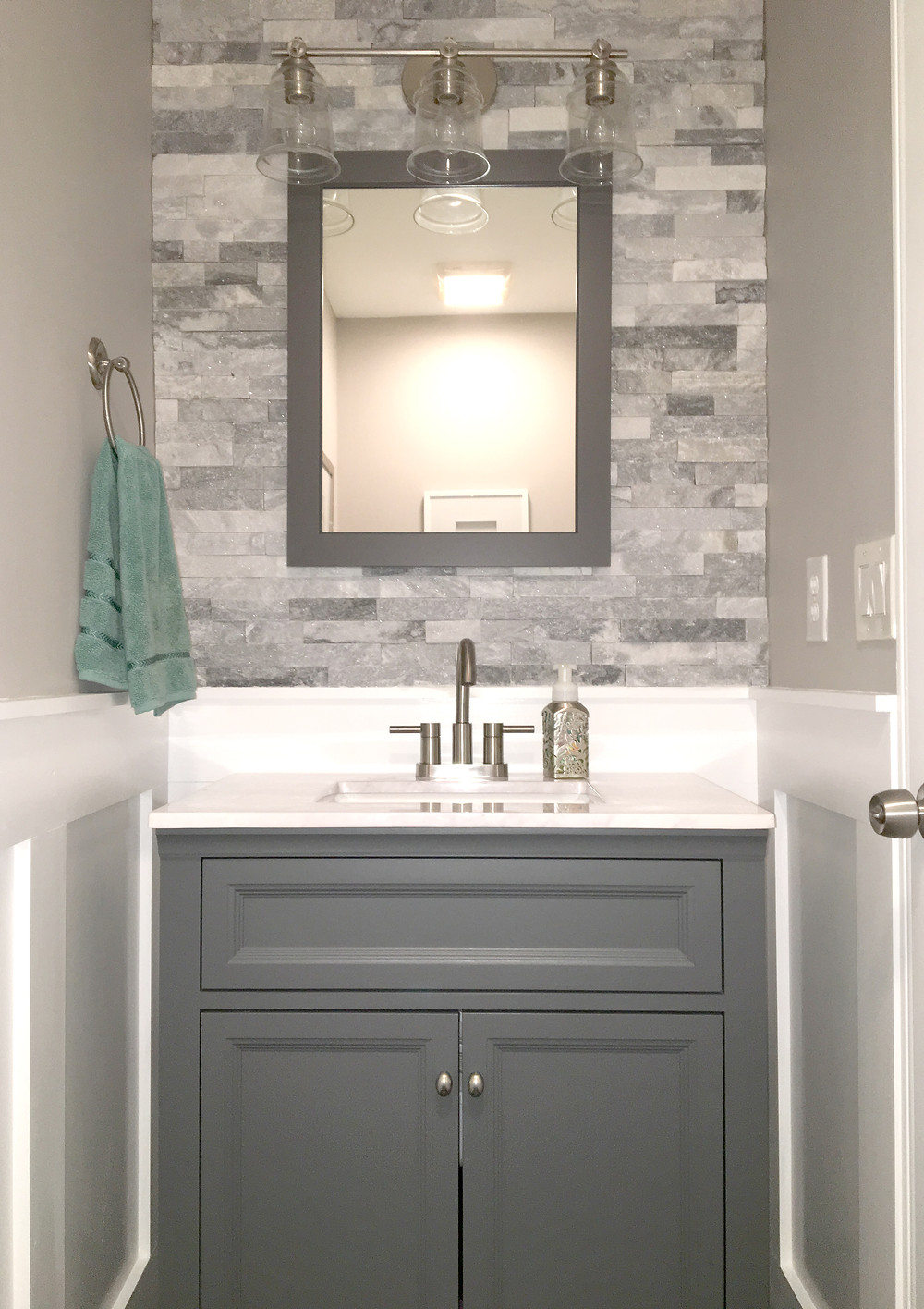 Gray Bathroom. Windsor Park Vanity.
