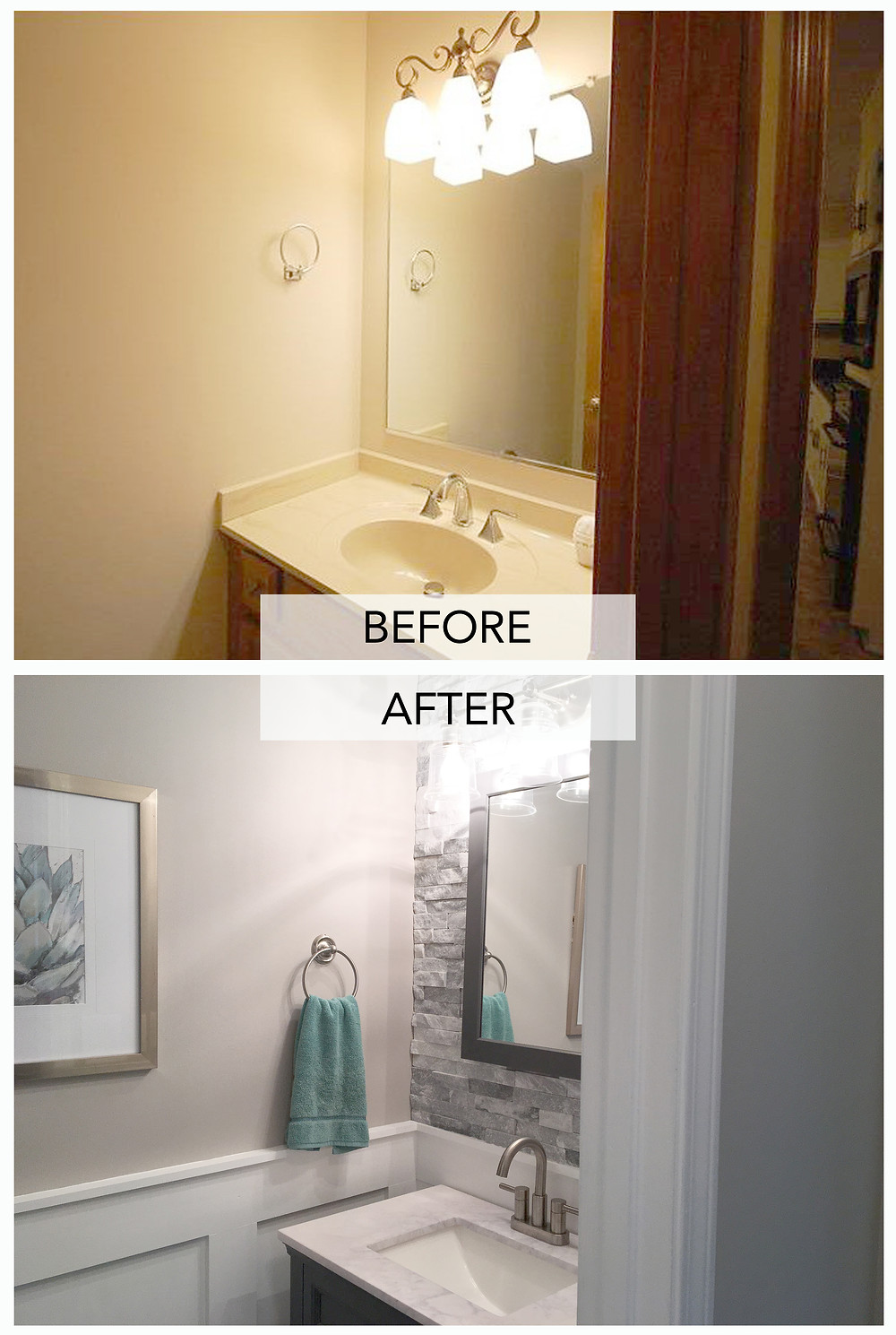 Powder Room Renovation - Before After