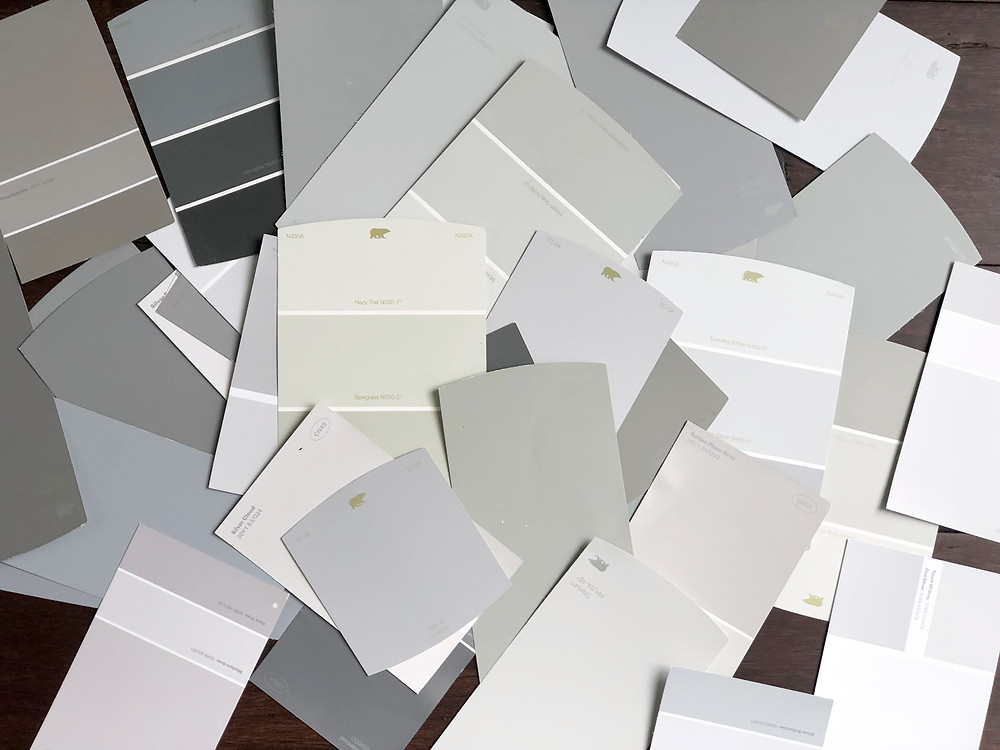 Gray paint swatches