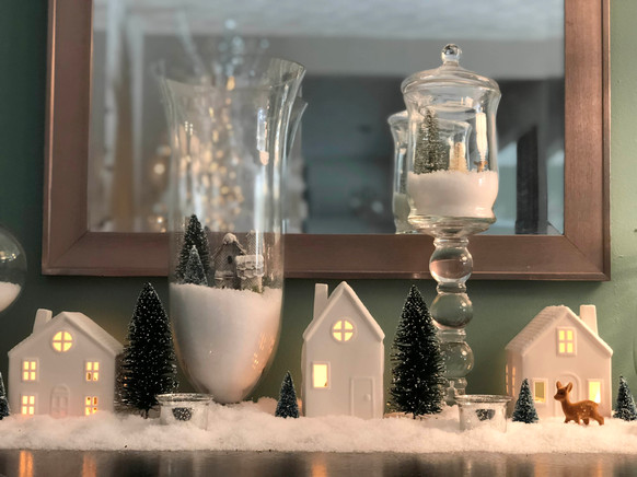 Christmas Vignette: Winter Village Jars