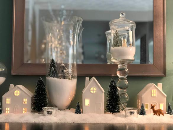 Christmas Vignette: Winter Village Jars