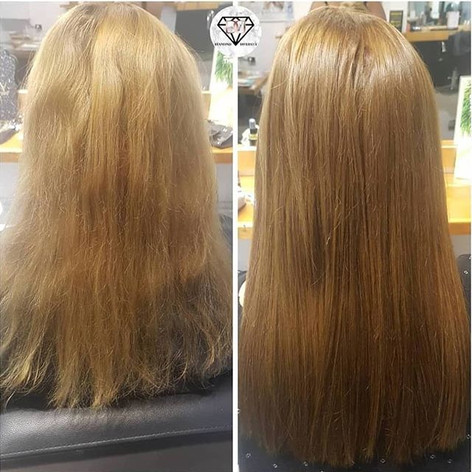 Beautiful before and after tape extensio