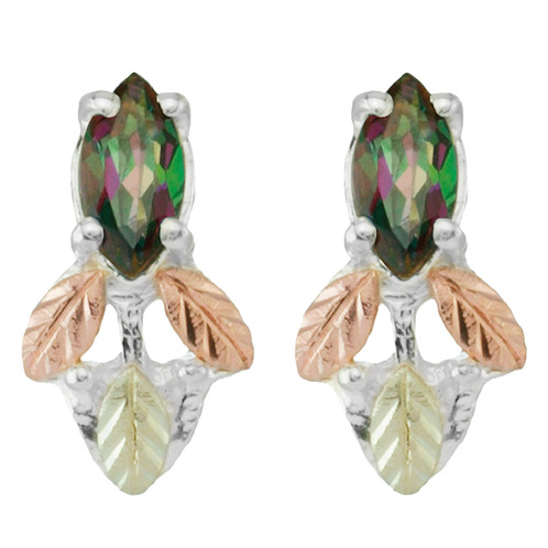 Sterling Silver Marquise Shaped Mystic Fire Topaz Earrings