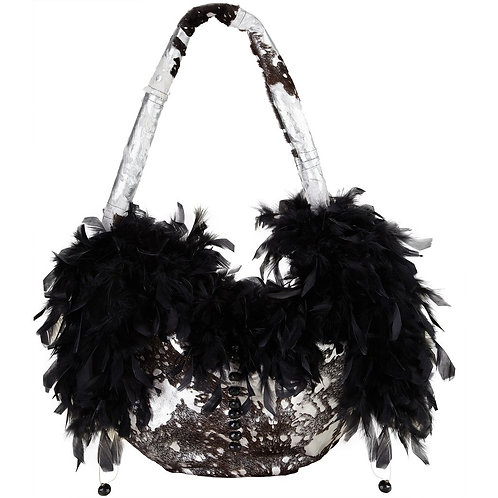 Angel of the Night Sky - TONI Grande Crescent Leather Bag