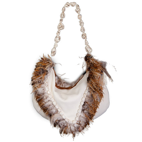 Angel of the Clouds - TONI Grande Crescent Leather Bag
